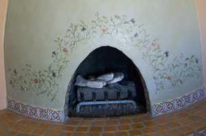 beehive fireplace after decorative painting