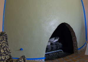 beehive fireplace before decorative painting