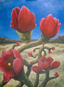 acrylic painting Cholla blossoms 4'x5'