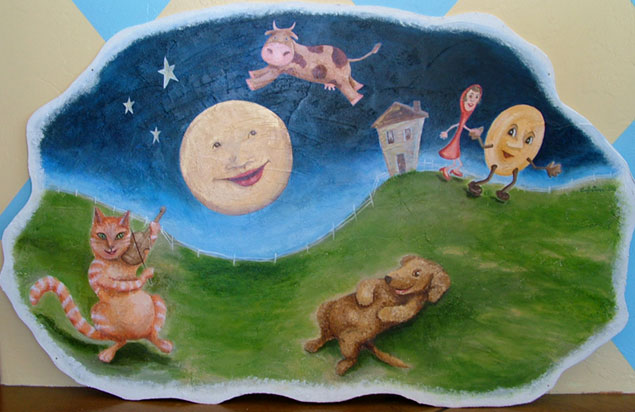 <childrens mural painting on fiberboard acrylic glazes>