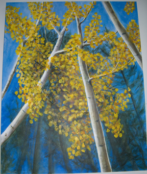 acrylic painting Aspen by Cindy Guare, Tucson, Az