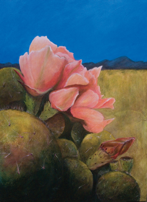 acrylic glazes on canvas Prickly Pear by Cindy Guare, Tucson, Az