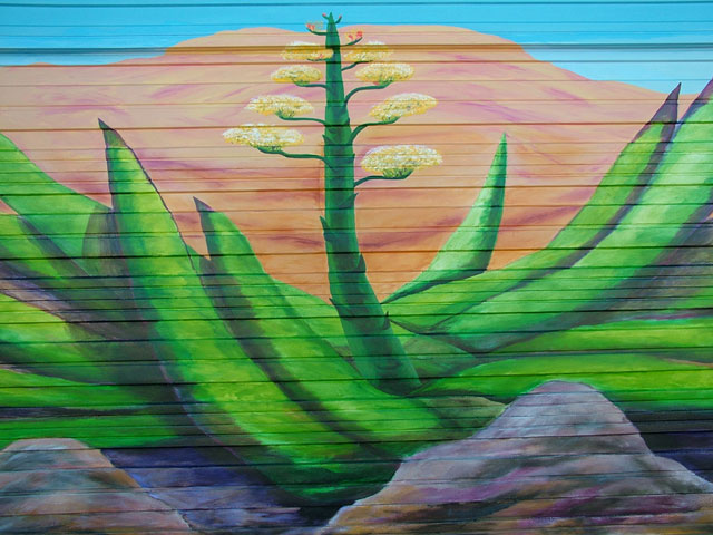 <agave painting on exterior garage door mural>