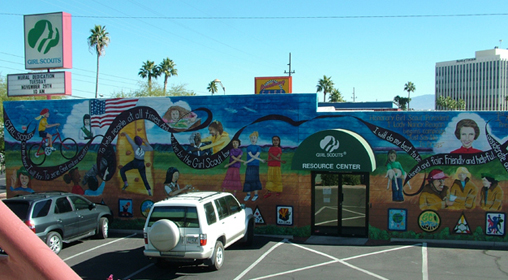 <Outdoor mural for Girl Scouts of their history>