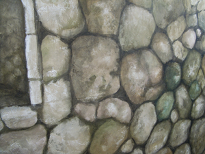faux rock wall mural